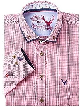 Pure Herren Trachtenhemd Langarm Rot Karo-Blau Slimfit 112540