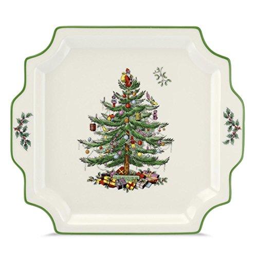 Spode Weihnachtsbaum Weihnachtsbaum, quadratische Servierplatte mit Griff cream/green -
