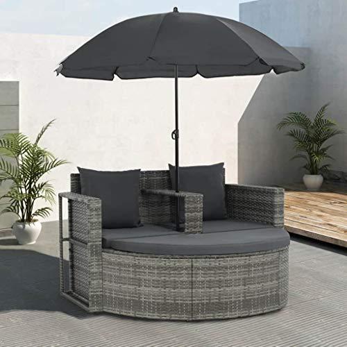 Festnight- Polyrattan Gartensofa 2-Sitzer mit Sonnenschirm und Fu?hocker   Gartenm?Bel Sonneninsel Rattansofa   UV-Best?ndige Sonnenschutz   für Garten oder Terrasse Grau