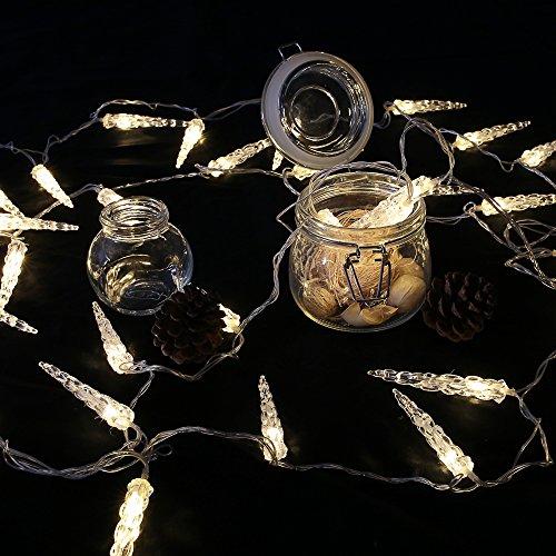 Eiszapfen-lichterkette (HG® 10M 40 LED Eiszapfen Eisregen Lichternetz Lichterkette 31V Wasserdicht warmweiß für Weihnachten Wedding außen Schaufenster)