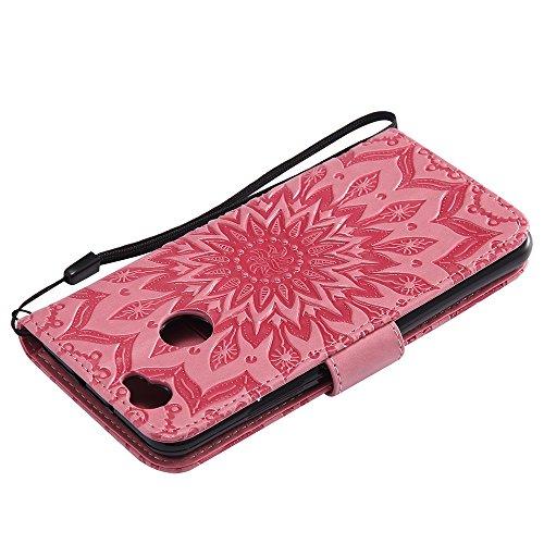 Für Huawei NOVA Fall, Prägen Sonnenblume Magnetische Muster Premium Soft PU Leder Brieftasche Stand Case Cover mit Lanyard & Halter & Card Slots ( Color : Pink ) Pink
