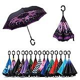 Jooayou Paraguas Invertido de Doble Capa,Paraguas Plegable de Manos Libres Autoportante,Paraguas a Prueba de Viento Anti-UV Para la Lluvia del Coche al Aire Iibre (Feather)