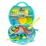 Nuheby Rollenspiel Küche Kinder Küche Spielzeug Tragbar Kinderküche Pädagogisches Spielzeug Kinderküche Zubehoer 3 4 5 6 Jahre Mädchen Junge(34pcs)