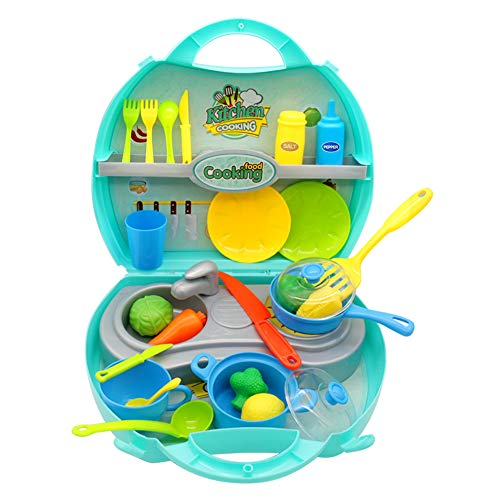 Utensilios Cocina Juguete 34pcs Accesorios de CocinaPlayset Portatil Cocinar Alimentos Maleta Juego de rolpara 3 4 5 Niños Niñas