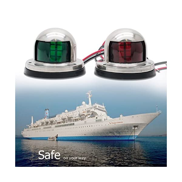 Maso Boat Navigation LED Light 2x Green&Red Vessel Sailing Signal Lighting Stainless Steel Marine Yacht