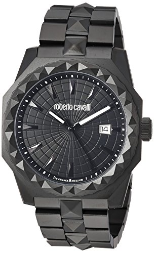 Roberto Cavalli by Franck Muller Men's 'PYRAMID BEZEL' Swiss Quartz Stainless Steel Casual Watch, Color:Black (Model: RV1G018M0076)