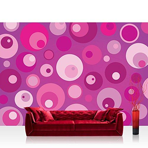 Papel Pintado Fotográfico Premium Plus fotográfico pintado-cuadro de pared-de Papel pintado abstracto burbujas puntos círculos Rosa-No. 2564, Fucsia, Fototapete 254x184cm | PREMIUM Blue Back