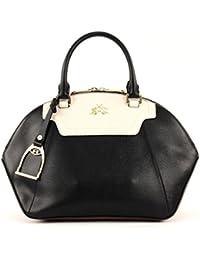 LA MARTINA La Portena Medium Bugatti Bag Black / White Cognac