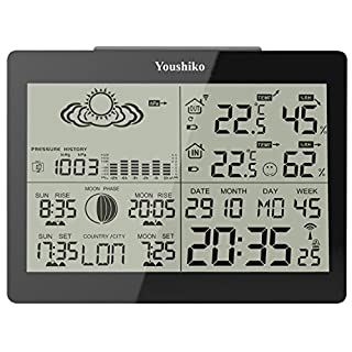 Youshiko YC9360 Indoor Outdoor Wireless weather Temperature Humidity - Black