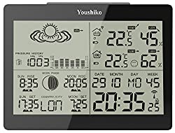 Youshiko YC9360 Digital Weather Station with Radio Controlled Clock (Official UK version), Indoor Outdoor Temperature Humidity, Sunrise & Sunset, Moonrise & Moonset Times, Barometric Pressure
