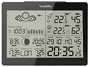 Digital Wireless Weather Station with Radio Control Clock ( Official UK Version ) and Indoor Outdoor Temperature Thermometer, Humidity , Ice Alert, Sunrise & Sunset / Moonrise & Moonset Times , Barometric Pressure, Graphical Moon Phase Display
