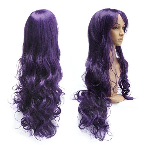 Perruque Frisée Ondulée 80 CM avec Frange Filet à Cheveux pour Soirée Déguisement Cosplay Femme -Dazone®-Violet Foncé
