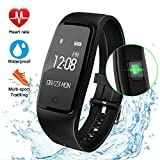 Fitness Tracker Watch, GULAKI Upgraded Activity Tracker Waterproof Smart Bracelet with Heart Rate Monitor Sleep Monitor Bluetooth GPS Route Tracking Pedometer Step Counter for Workout Exercise for Android and IOS Smart Phones - black