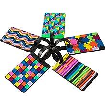 5 piezas de etiquetas de equipaje, identificador para maletas, bolsas – coloridas, resistentes, elegantes, modernas