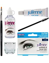Julienne Eyelash Eyebrow Tint Tinting Kit Dye Blue Black Tint Brush Dish Oxidant