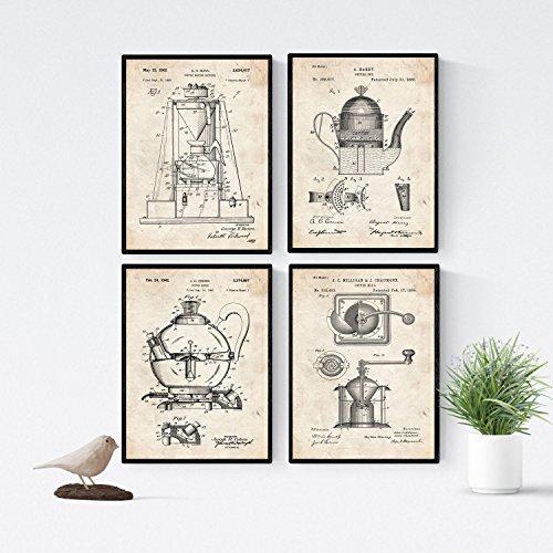 Nacnic Vintage - Pack 4 Láminas Patentes CAFETERAS