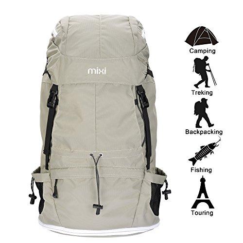 """Mixi Grande 43L impermeabili Borse trekking zaini zaino sportivi per escursione di campeggio esterna alpinismo. (Blu, 23"""") Cachi"""