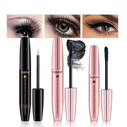 Cooljun 3 en 1 Fiber Lash,Sérum pour la croissance des cils,Maquillage Mascara Noir 3D avec des fibres naturelles noir, Mascara Fibres 3D Naturel, Effet de cils faux de longue durée