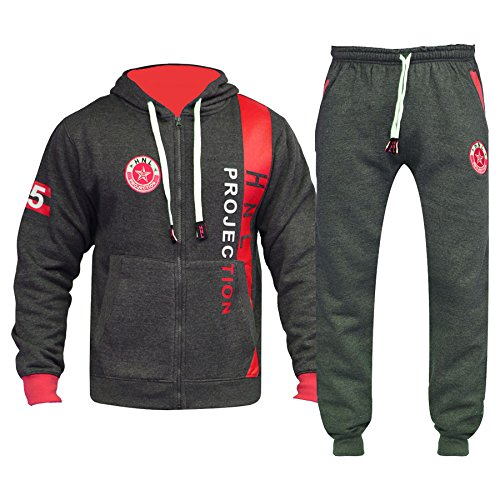 A2Z 4 Kids® Kids Tracksuit Boys Girls Designer's HNL Projection - HNL 02 - Charcoal & Red - 13 Yr