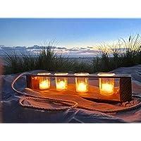 Teelichthalter aus Altholz Holz von Obstkiste mit 4 Gläsern und Tau, Handgefertigt, Windlicht, Kerzenhalter, Laterne, Vintage, Shabby-Chic