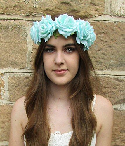 Grand Vert menthe Aqua Rose Bandeau cheveux fleur couronne Guirlande Festival Boho Z9400 * * * * * * * * exclusivement vendu par – Beauté * * * * * * * *