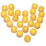 Diyife Flickering LED Candles, [24pcs Battery Operated] Flameless LED Tea Lights, Realistic Electric Fake Candle in Warm Yellow - Perfect for Valentines Day, Halloween, Christmas, Birthday Decoration
