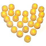 Sin llama LED velas de té, [24piezas funciona con pilas] e2buy parpadeo LED velas, realista Electric Fake vela en caliente amarillo–perfecto para el día de San Valentín, Halloween, Navidad, decoración de cumpleaños