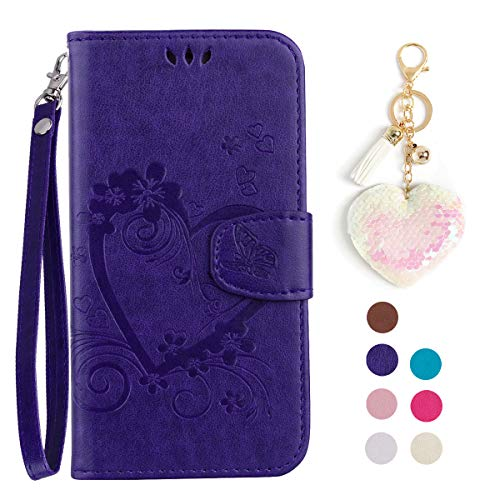 LA-Otter kompatibel für Xiaomi Redmi 4A hülle Leder Herz Schmetterling Lila Tasche Handyhüllen Lederhülle Schutzhülle Flip Case Klapphülle