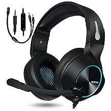 NUBWO Gaming Headset PS4 Xbox One Headset Stereo PC Headset Noise Cancelling Gaming Headset met microfoon Comfort Memory Earbeschermer volumeregeling voor Xbox1 Playstation 4 Controller Laptop (blauw)