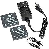 DSTE 2-pack Rechange Batterie et DC68E Voyage Chargeur pour Panasonic S008E Lumix DMC-FX520 HM-TA1 SDR-S7 SDR-S9 SDR-S10 SDR-S10P1 SDR-S15 SDR-S20 SDR-S25 SDR-S26 SDR-SW20 SDR-SW21 SDR-SW28