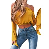 Lilicat Mode Damen aus Schulter Sommer Crop Tops Solide Shirts Langarm T-Shirt Frauen Casual Bluse Plissee Tunika (S, Rosa)