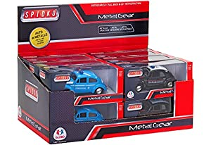 Globo Toys Globo 37409 Spidko Die Cast Carab and Police Pull Back Car in a Box (12 Piezas)