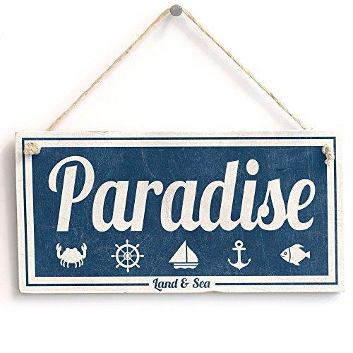 ('Birds in Paradise (Land & Meer)' - nautisch Schild - Handarbeit Shabby Chic Holzschild/Wandschild)
