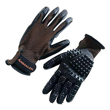 Animalon Fellpflege Handschuh aus Kautschuk (Doppelpack) | innovativer und praktischer Fellwechsel-Helfer für Pferde und Hunde | Gummi-Striegel-Handschuh für Pferde besonders im Fellwechsel