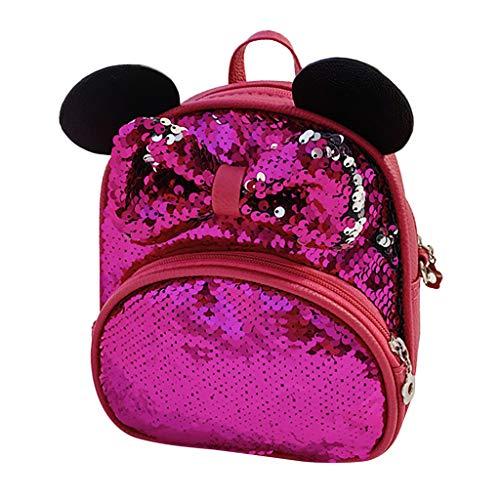Dorical Kinderrucksack Mädchen Bogen Kinderrucksäcke Pailletten Rucksack, Mini Schultaschen,Glitzer Nette Mode Freizeitreise Crossbody Bag,Reise Umhängetasche,Ausverkauf(Hotpink)