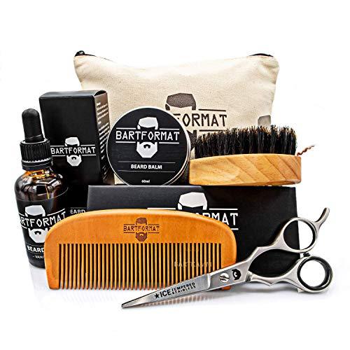 Bartpflegeset für Männer 6-teilig von BARTFORMAT - Bartöl + Balsam + Bartschere + Bartbürste + Bartkamm + Kulturbeutel - Das hochwertige Bartpflege Set ideal als Geschenk -