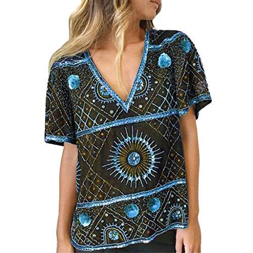 Bfmyxgs Fashion Plus Size Women Short Sleeve V-Neck Vintage Print T-Shirts Tops Blouses