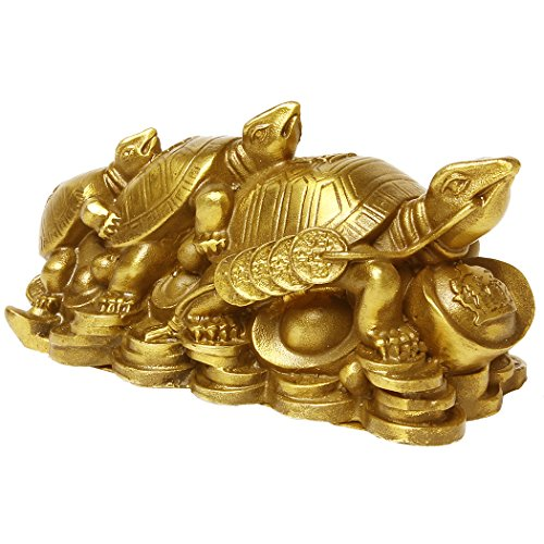 chinois FENGSHUI Folk faite à la main Laiton Tortue trois génération Turtles Statue Sculpture Figurines de collection. Bs013