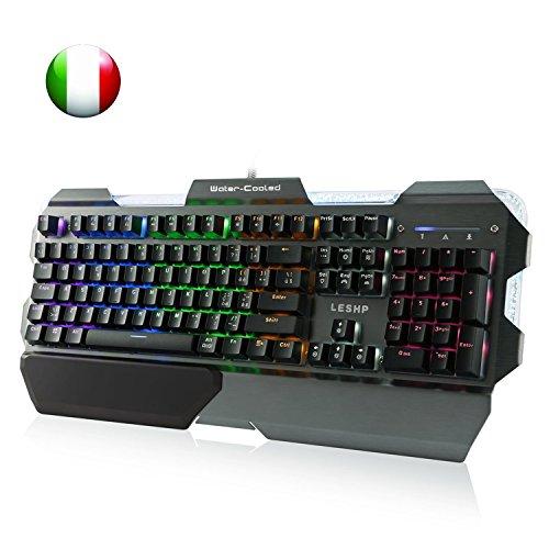 LESHP Tastiera Meccanica Gaming, Tastiera Raffreddata a Liquido Prefessionale, Retroilluminato 7 Colori 105 Tasti, Struttura in Alluminio, Italiano QWERTY, Tastiera Gaming Giocatori per PC Mac