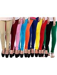 New Women's Cotton Lycra 4 Way Strechable Churidar Leggings Pack Of 10 (Free Size)