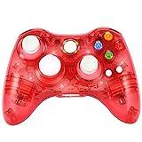 Molyhood XBOX 360 Wireless Controller, Xbox 360 Wireless Gamepad PC-Controller Transparente Gamepad mit 8 LED-Leuchten für PC/Xbox 360 (Windows XP/7/8/10), rot