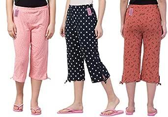 Fflirtygo Women's Cotton Printed Pajama (Pack of 3)