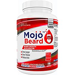 MOJO BEARD - Bartwachstum | Bartwachstumsstimulator | Bartwachstumsbeschleuniger | Nahrungsergänzungsmittel für erhöhtes Bartwachstum | Bartwachstumspillen – GELD-ZURÜCK-GARANTIE