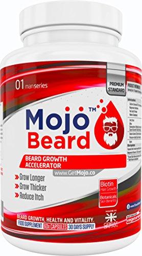 MOJO BEARD - Bartwachstum | Bartwachstumsstimulator | Bartwachstumsbeschleuniger | Nahrungsergänzungsmittel für erhöhtes Bartwachstum |...