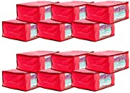 Amazon Brand - Solimo 12 Piece Non Woven Fabric Saree Cover Set with Transparent Window, Large, Pink