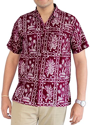 La-Leela-Shirt-Camisa-Hawaiana-Hombre-XS-5XL-Manga-Corta-Delante-de-Bolsillo-Impresin-Hawaiana-Casual-Regular-Fit-Camisa-de-Hawaii-Granate-BA671-M