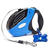 Einziehbare Hundeleine Führleine Halsbänder 16ft(5m) Nylon Gurt für Hund in verschiedene Größen bis max 50KG, Ein Knopf Break & Lock Blei Handgriff, Enthalten Abfallbeutel