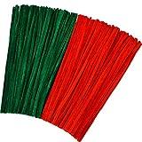 300 Stücke Weihnachten Chenille Stems Pfeifenreiniger für DIY Art Craft Lieferungen Dekorationen, 12 Zoll x 6 mm, Rot und Grün