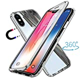 ZHXMALL Coque iPhone X, [Version Améliorée] [Adsorption Magnétique] Housse Alliage D'aluminium 360° Plein Ecran Cover Avant et Après Verre Trempé Cas Ultra Slim Anti-Rayures Aimant Flip Cover Case