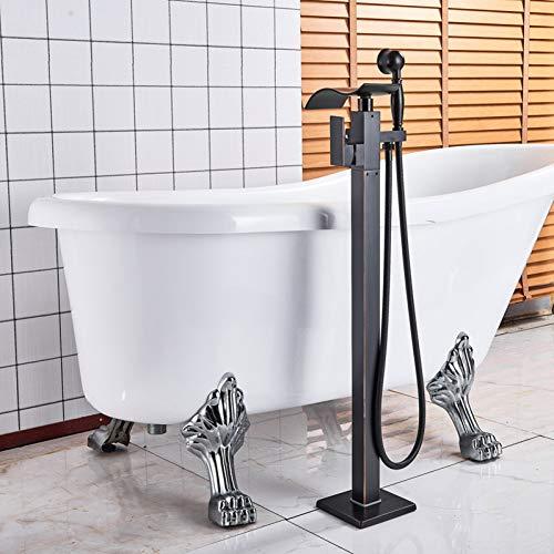 HUASAA Schwarz Bronze Freistehende Badewanne Mischbatterie Wasserhahn Einhand Messing Wasserfall Wannenmischer Bodenmontierte Klaue Fuß Bad Dusche Set